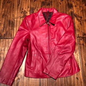 Jackets & Blazers - Lined, red leather zip front jacket.